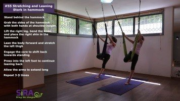 Stretching and Leaning Stork in hammock – exercise #55
